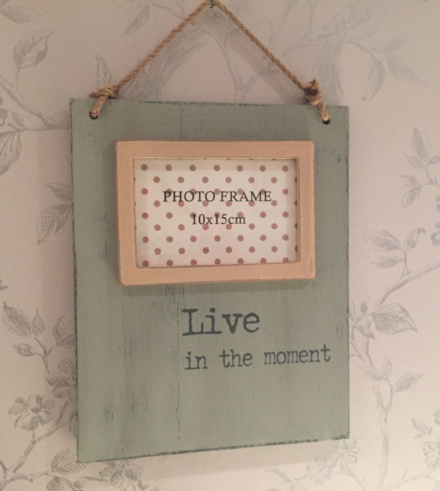 Live In The Moment - Rough Wood Wall Hanging Photo Frame